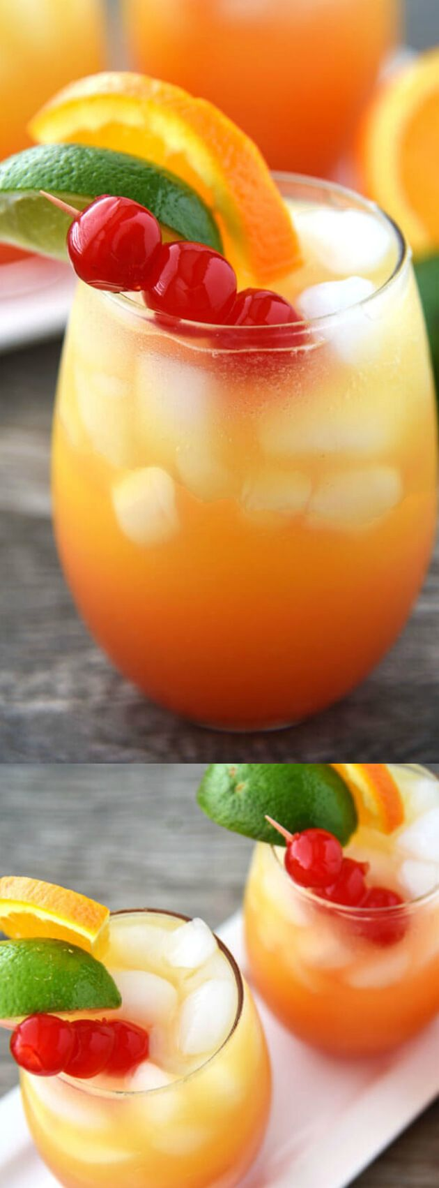 This Mai Tai Cocktail is a refreshing drink that the whole family can enjoy! Orange, lemon-lime and more combine to create one amazing drink via @bestblogrecipes