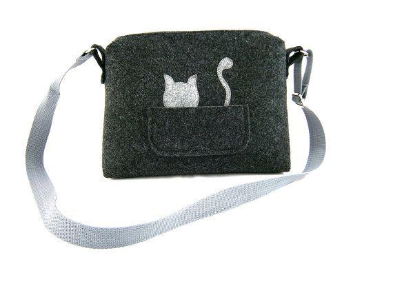 Katze-Handtasche Filz Handtasche Tasche für Frauen von Torebeczkowo