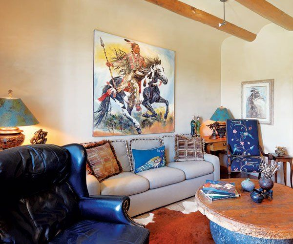 this beautiful santa fe style home is filled with beautiful unique artwork stylish