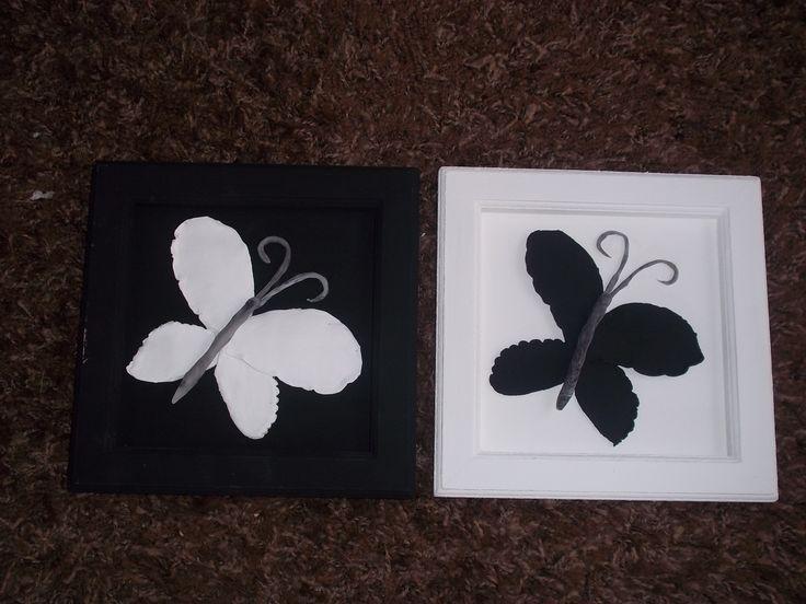 Díptico mariposas. Porcelana fría.