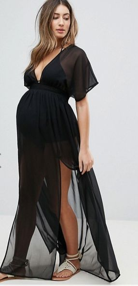 $42 | Style your bump this summer at the beach with this gorgeous Maternity Shirred Waist Maxi Chiffon Beach Caftan | maternity fashion | maternity swimwear | maternity beach fashion | maternity clothes | spring maternity | summer maternity | maternity wardrobe | maternity style | maternity | pregnancy | bump | #ad