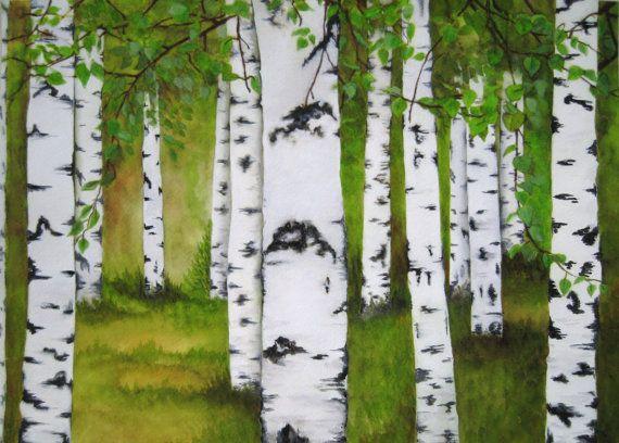 Original-Aquarell Malerei Birkenwald  Größe: 16 x 12 (297 x 420 cm) Vom Künstler handsigniert Technik: Aquarell und Tempera auf Papier malen RAHMUNG: nicht inbegriffen    Ich biete Versand per DHL Luftpost und ohne Versandkosten.  Dieses Gemälde wird professionell verpackt und couriered zu sicherzustellen, dass es, um Sie auf Zeit und Qualität perfekt ankommt.   Beachten Sie, dass Computer-Monitore unterschiedlich kalibriert werden können damit die Farben auf Ihrem Bildschirm geringfügig…