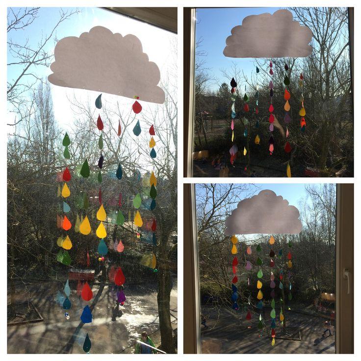 Bunte Regentropfen - Wolke / Schule - Fensterdeko
