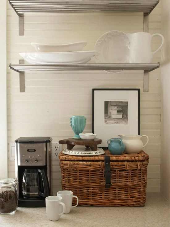Love this morning coffee station! I have one and it makes facing the day much more bearable! :-) Baskets and containers hold extra coffee, filters and coffee making accessories!