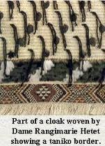 part of a cloak showing a taniko border