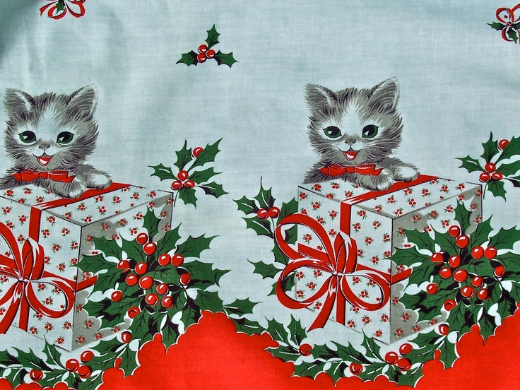 vintage christmas cats apron adorable made from vintage fabric - Vintage Christmas Fabric