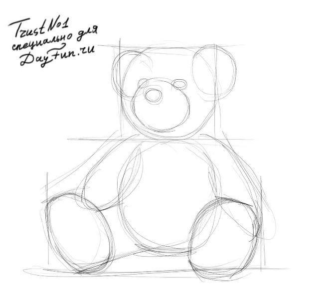 Рисунки плюшевого медведя карандашом