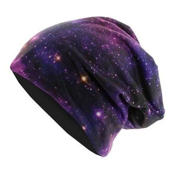 MasterDis Printed Jersey Beanie Galaxy ❤ liked on Polyvore featuring accessories, galaxy and galaxy jersey