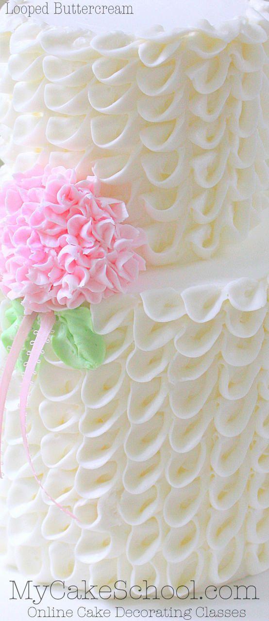 Beautiful Looped Buttercream! Cake Decorating Member Video Tutorial by MyCakeSchool.com! {Online Cake Decorating Classes!}