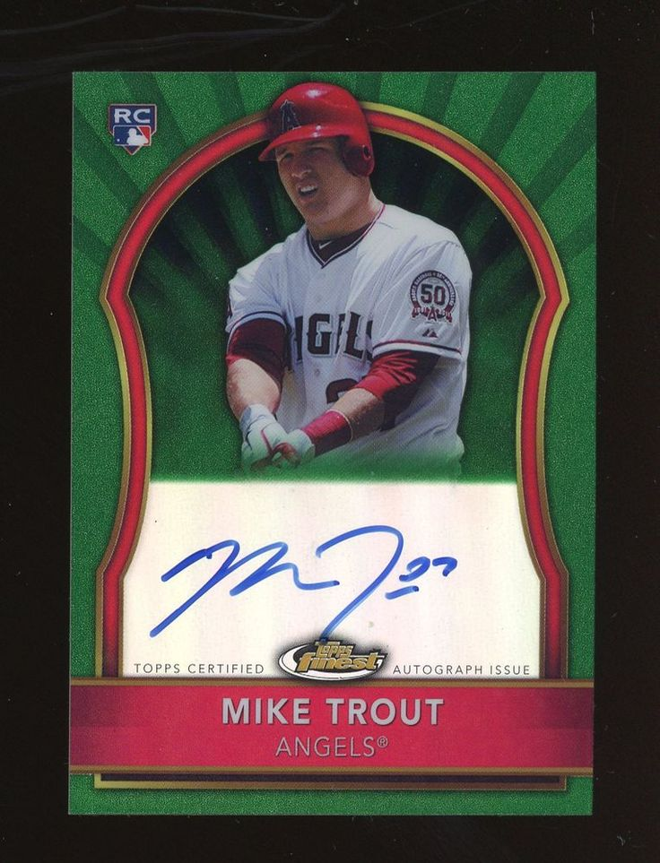 2011 topps finest green refractor mike trout angels rc