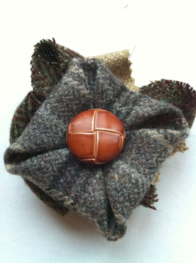 Grey Tweed Brooch with Vintage Button