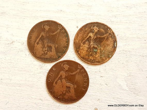 3 vtg 1910s pence 1912, 1918, 1919 collectible coins pence coins uk coins vintage old pence vintage british coins one penny vtg A00/668