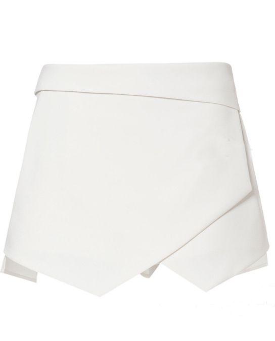 White Asymmetrical Geometric Pockets Shorts