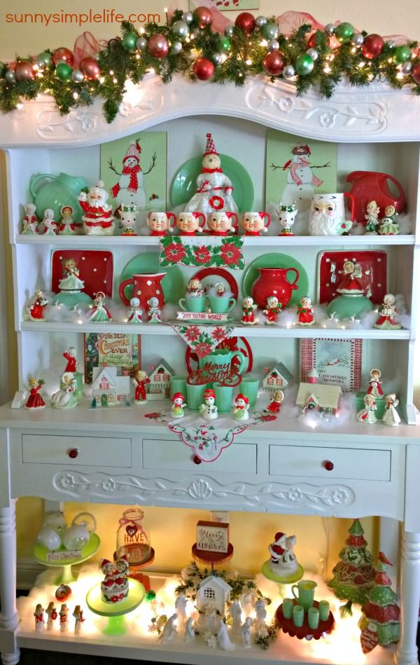 cozy Christmas cottage decor, jadeite collection, vintage Christmas