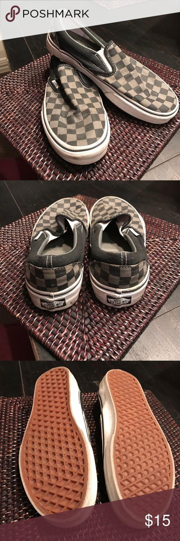 Vans Checkerboard Slip-On Tennis Shoe. Black/Pewter Checkerboard Vans Slip-On's. These are apart of my Vans collection. Lightly worn. Rubber sole. Vans Shoes Sneakers