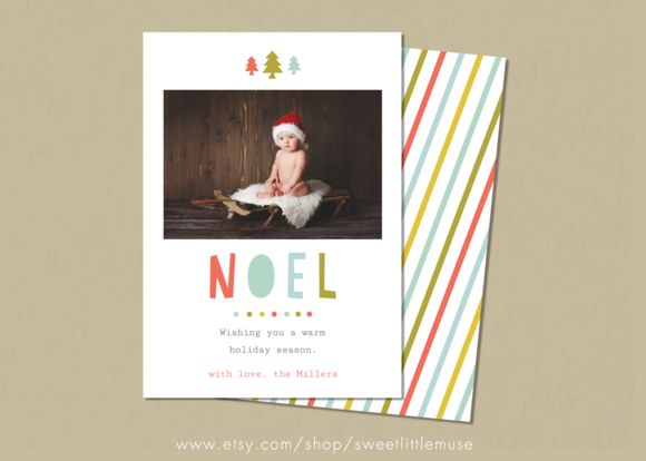Holiday Card Template by SweetLittleMuse on Creative Market