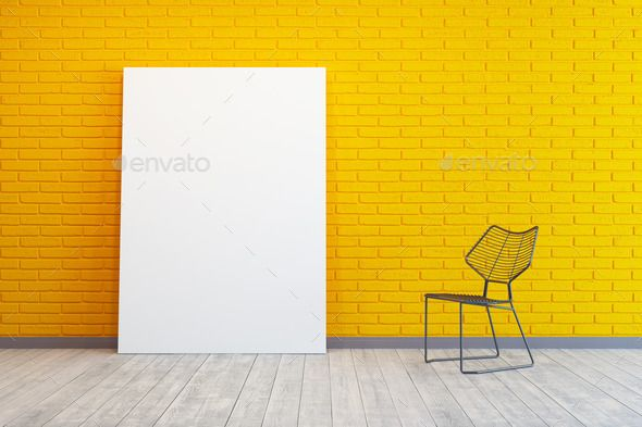 Yellow Room With Blank Picture And Chair