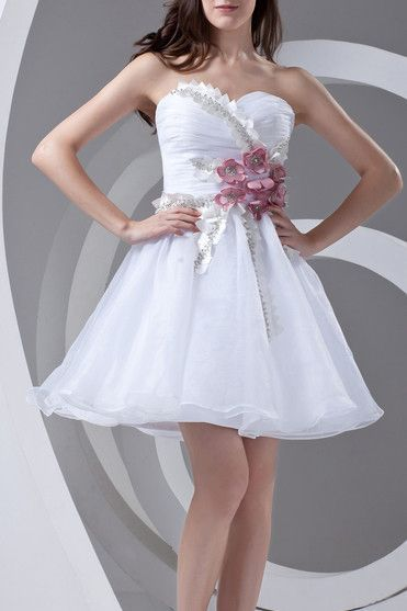 White Prom Dresses 2017 A-line Sweetheart Zipper Short/Mini Organza Beading