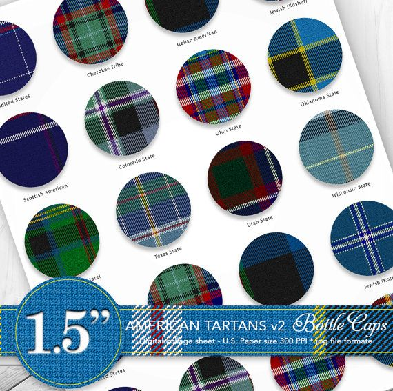 Bottle caps 1.5 clipart/American tartans US by CornucopiaArtDesign