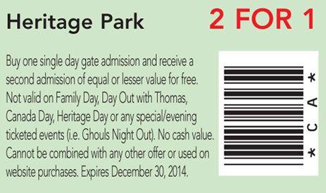 Heritage Park coupon