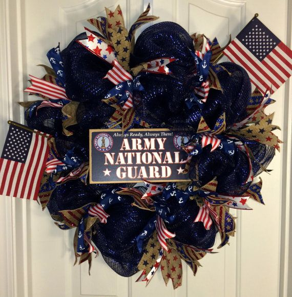 Army National Guard Deco Mesh Wreath by WinkysWreaths on Etsy