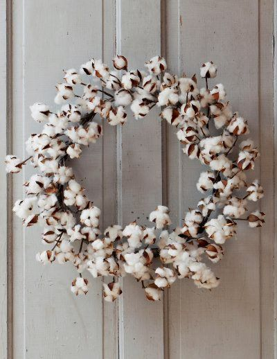 "Large Cotton Wreath made with real cotton, hand wrapped. Measures approx. 26"" Wired components for easy shaping! Perfect for your Farmhouse Decor!"
