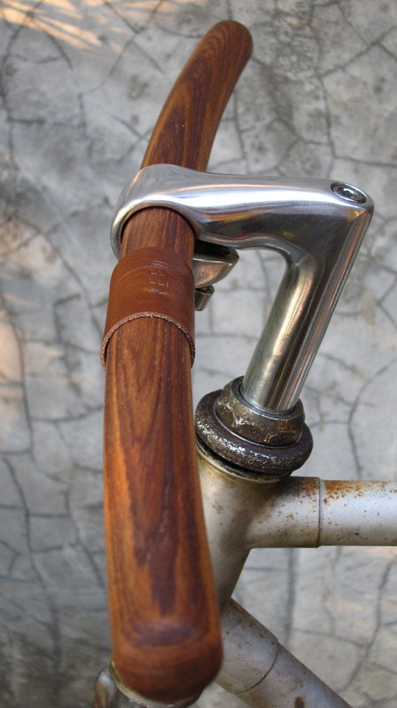 """bicycle handlebar -round tip at both ends- leather monogram of """"your name""""-solid TEAK wood-genuine leather"""