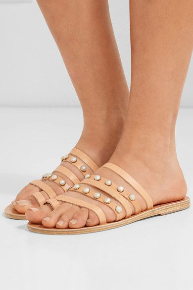 Ancient Greek Sandals - Niki Faux Pearl-embellished Leather Sandals - IT36
