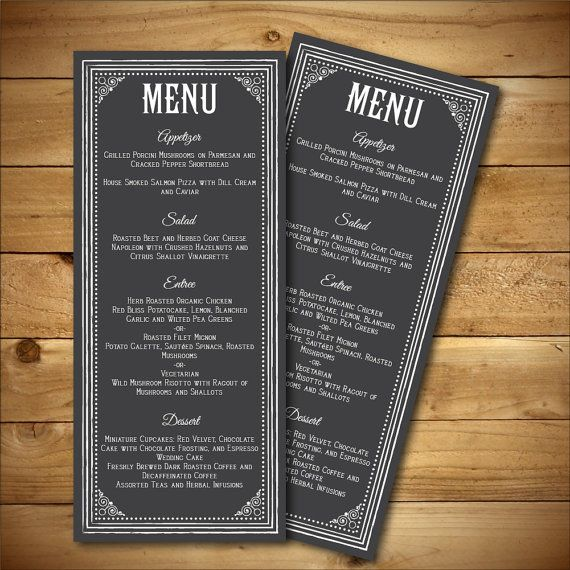 printable chalk style wedding menu template white dark grey instant download editable ms word doc peony collection