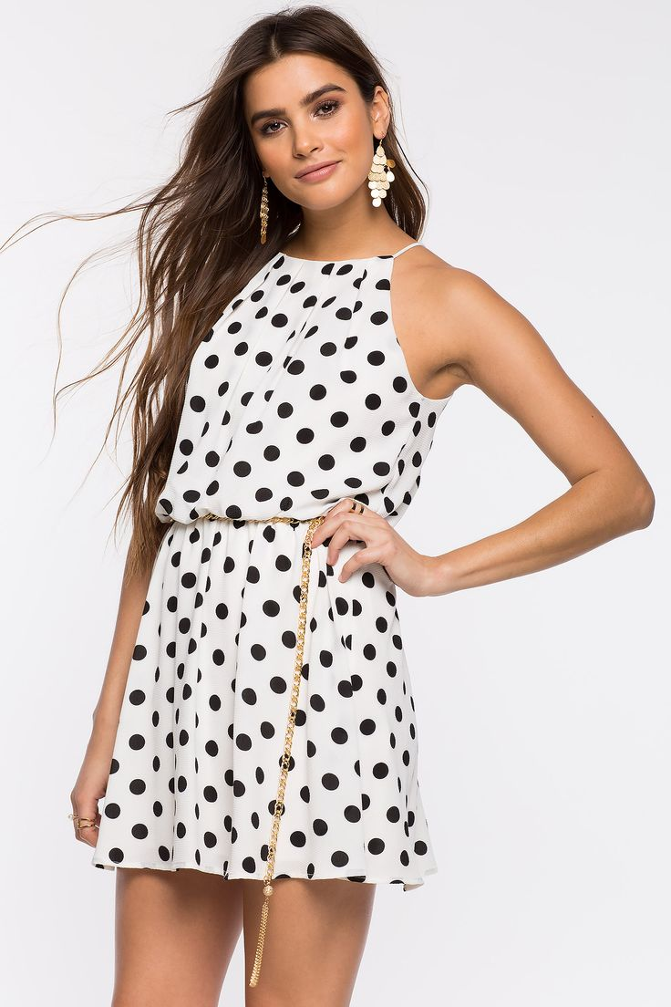 Women's Fit & Flare Dresses | Dolly Dot Halter Pleat A-Line Dress | A'GACI