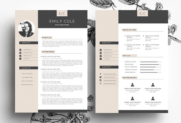Resume and Business Card Template by Emily's ART Boutique on @creativemarket
