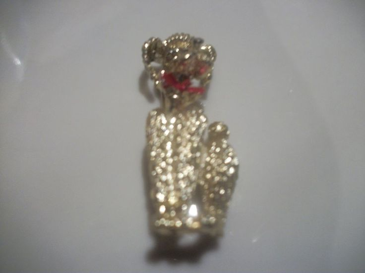 Poodle Dog Brooch Cute Gold Tone w/ Red Enamel Bows Figural Pin