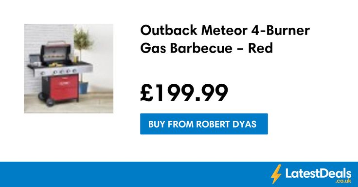 Outback Meteor 4-Burner Gas Barbecue – Red, £199.99 at Robert Dyas