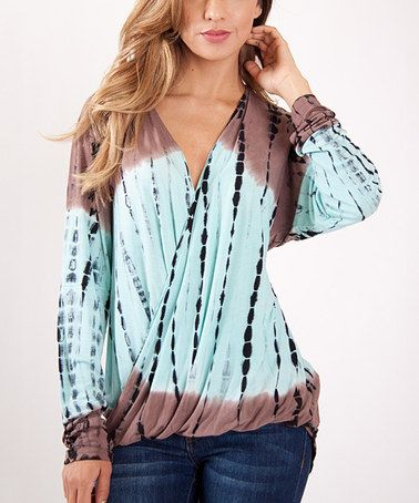 Loving This Blue Brown Tie Dye Surplice Blouse On Zulily