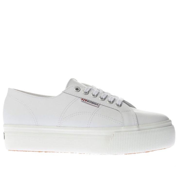 womens superga white 2790 flatform trainers