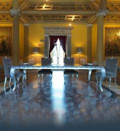 silver large luxury dining table