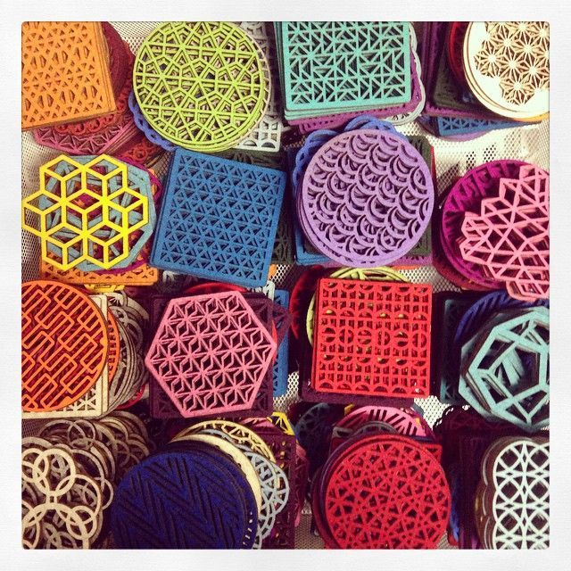 wgsn:  Innovative use of felt with these laser cut 100% merino wool coasters and trivets by Molly M Designs