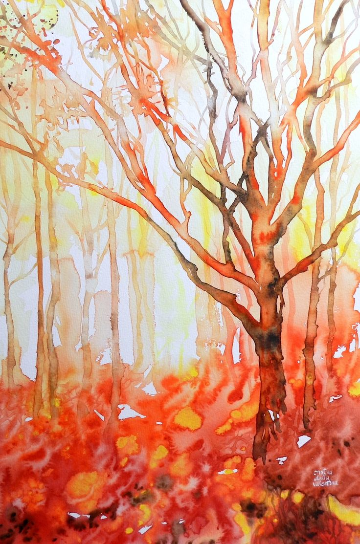 Cristina Dalla Valentina Art: Camminando nella foresta arancione - Walking in the Orange Forest - www.cristinadallavalentina.com
