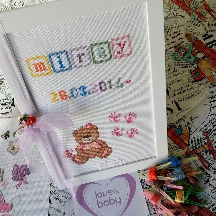 Etamin&Cross stitch İsme özel bebek panosu  :)