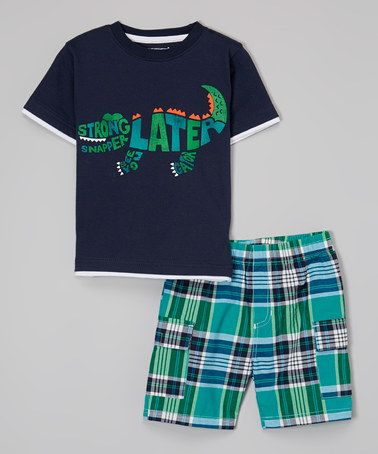 Navy 'See You Later' Tee & Green Shorts - Infant, Toddler & Boys by Kids Headquarters #zulily #zulilyfinds