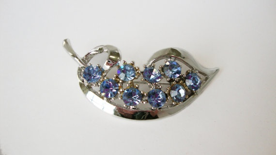 #Vintage Silver Tone Leaf #Brooch by Treasures On Broadway, $24.00