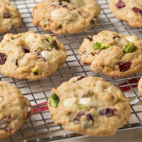 Cranberry, Pistachio and White Chocolate Chip Oatmeal Cookies Recipe with butter, brown sugar, granulated sugar, eggs, vanilla extract, all-purpose flour, baking soda, salt, pistachios, rolled oats, dried cranberries, white chocolate chips