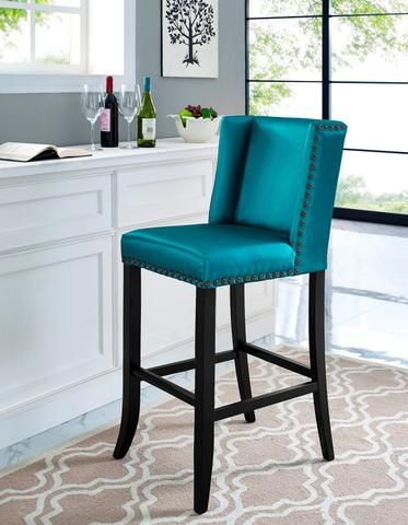 TOV Furniture Modern Denver Blue Bar Stool , Bar Stools - TOV Furniture, Minimal & Modern - 1