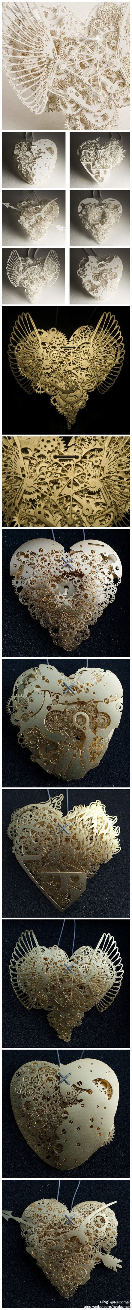 Tutorial origami, the art of ... mechanical heart, paper sculpture art! Steampunk. sarah- heart form