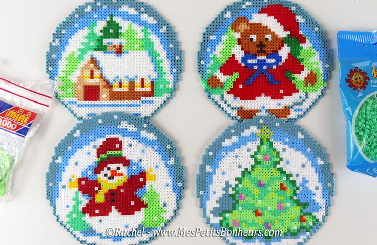 Boule Nounours Père Noël en Perles Hama – Modèle