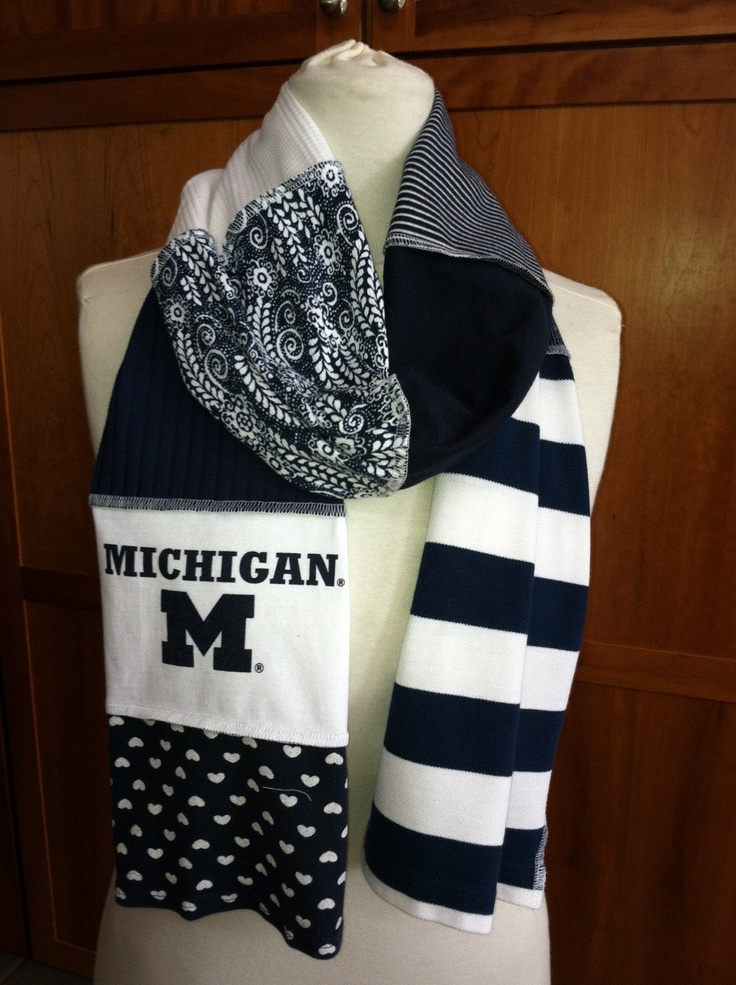 UPCYCLED t-shirt scarf... Michigan... U of M... Wolverines... GO BLUE ... blue white. $22.00, via Etsy.