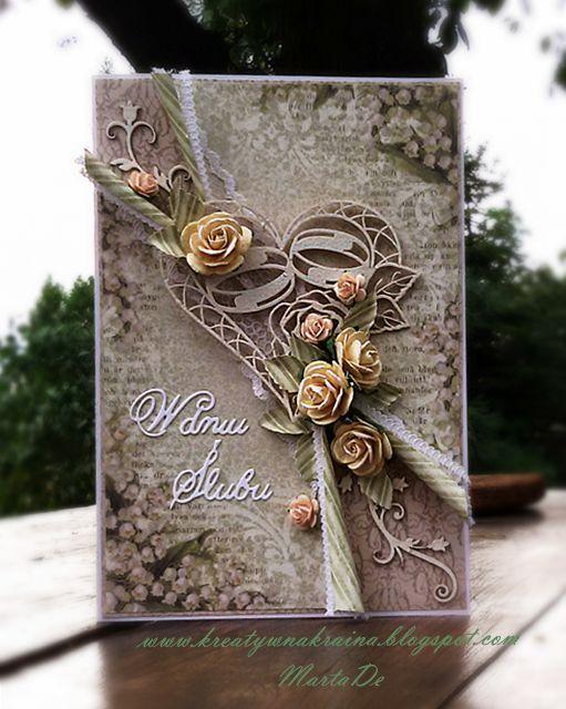 Monochromatyczna kartka ślubna/ Monochrome wedding card