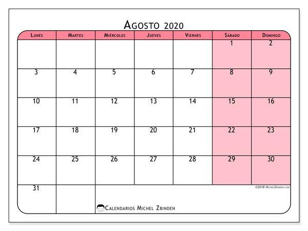 Calendario Agosto 2020 Para Imprimir Gratis.Calendario Agosto 2020 64ld Ejercicio Calendario Para