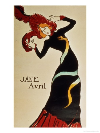 Henri de Toulouse-Lautrec. Jane Avril 1899. From All Posters.