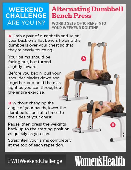 weekend challenge alternating dumbbell bench press a